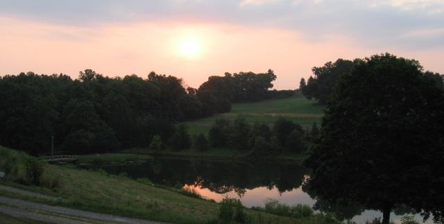 Sunrise at Olney, the site of Friends Center in Barnesville, Ohio